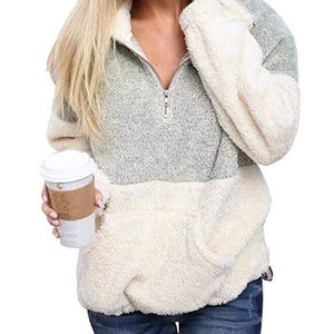 Sweaters - Gray & White Sherpa Pullover Sweater